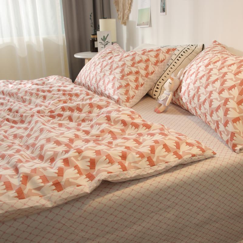 北欧风床品纯棉小清新简约床单被套1.8米1.5M床上全棉四件套女