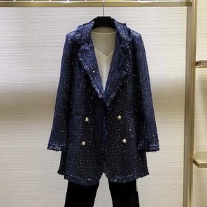 希哥弟思媞女装专柜正品牌秋冬中长款小香风花色编织毛呢外套大衣