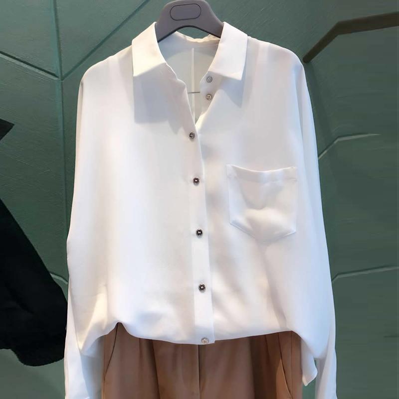圣阿玛施塔夏秋装女2018新款正品国内代购女装白色长袖衬衫上衣潮