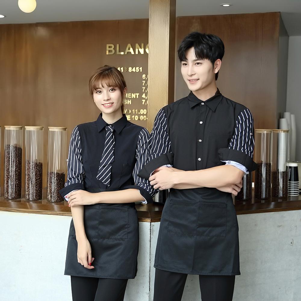 韩式烤肉服务员长袖衬衣西餐厅传菜生工作服KTV咖啡馆收银员工装