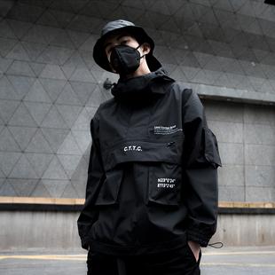 CATSSTAC城市机能风防水多口袋夹克外套连帽嘻哈冲锋衣男街头潮牌