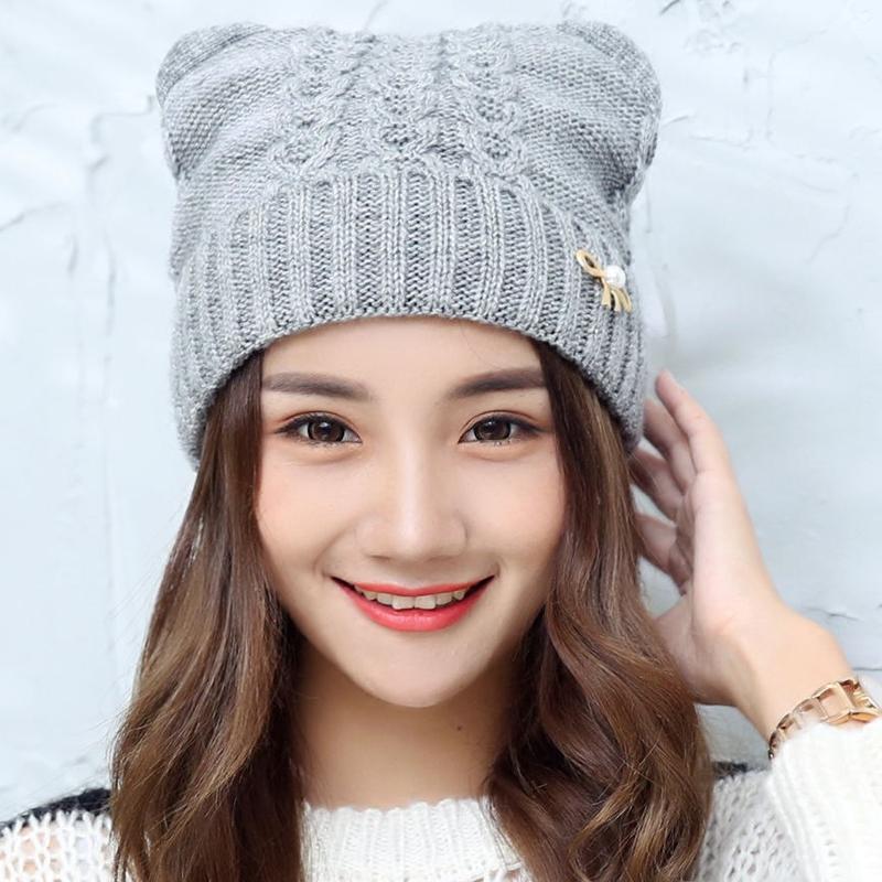 Шляпа женская Корейский волна милые кошачьи уши в зимой шерсти толстые теплые шляпы шерсти шляпу женщин вязать шляпу шлем