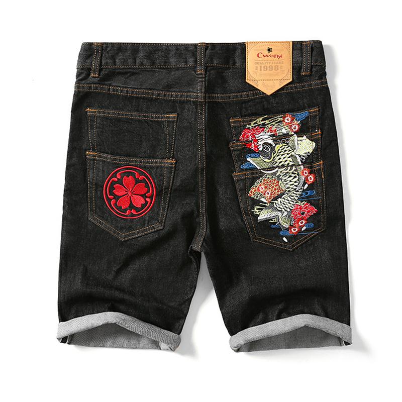 Новый летний движение джинсы китайский ветер карп вышивка прямо большой двор шорты японский прилив бренд воздухопроницаемый тонкая модель