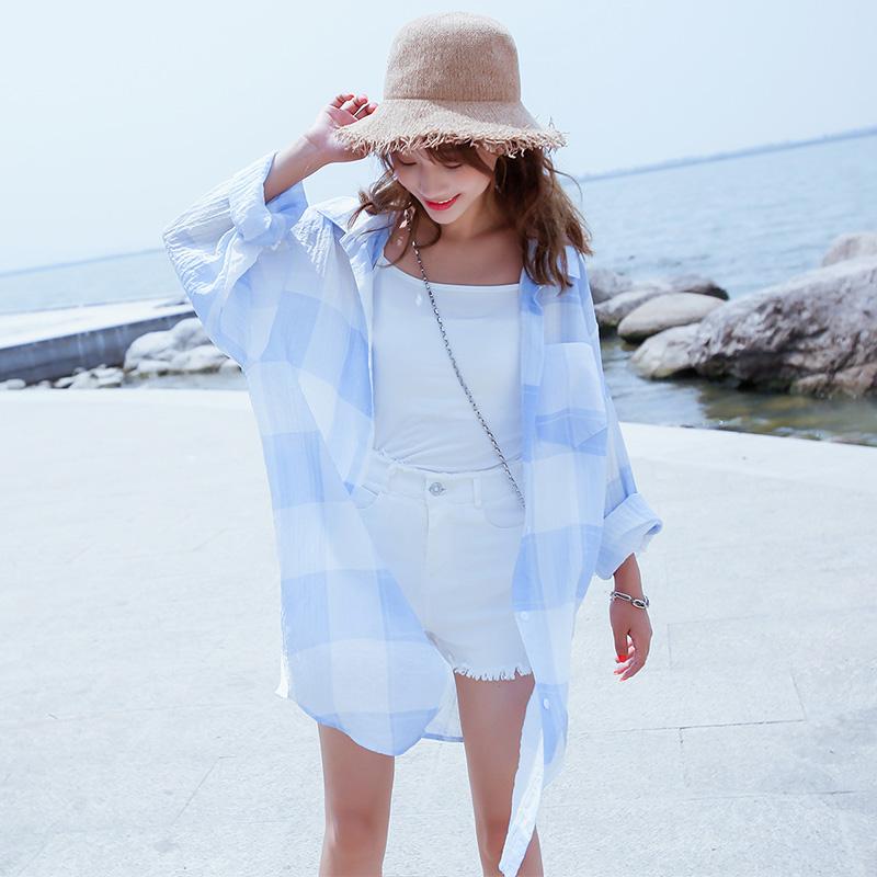 格子防晒衣女中长款2018夏季新款韩版超薄学生宽松长袖衬衫空调衫