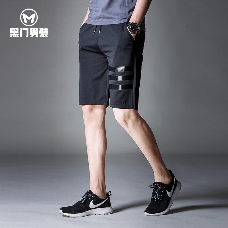 韩版运动休闲短裤男潮夏季新款马裤印花黑色五分裤宽松沙滩裤男士