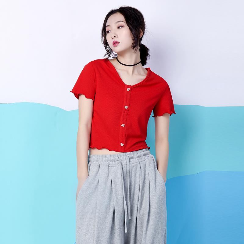 Pinyin short sleeve T-shirt womens summer 2020 new womens clothing Korean V-neck slim sexy knitted navel exposed short fashion