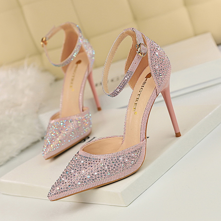 Korean sweet high heeled shoes thin heeled high heeled shallow mouth pointed hollow one word with shiny diamond womens sandals 12 trendy women