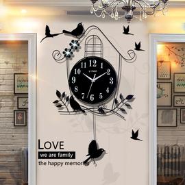 小鸟石英钟表挂钟挂表客厅创意现代个性装饰简约大气家用挂墙时钟
