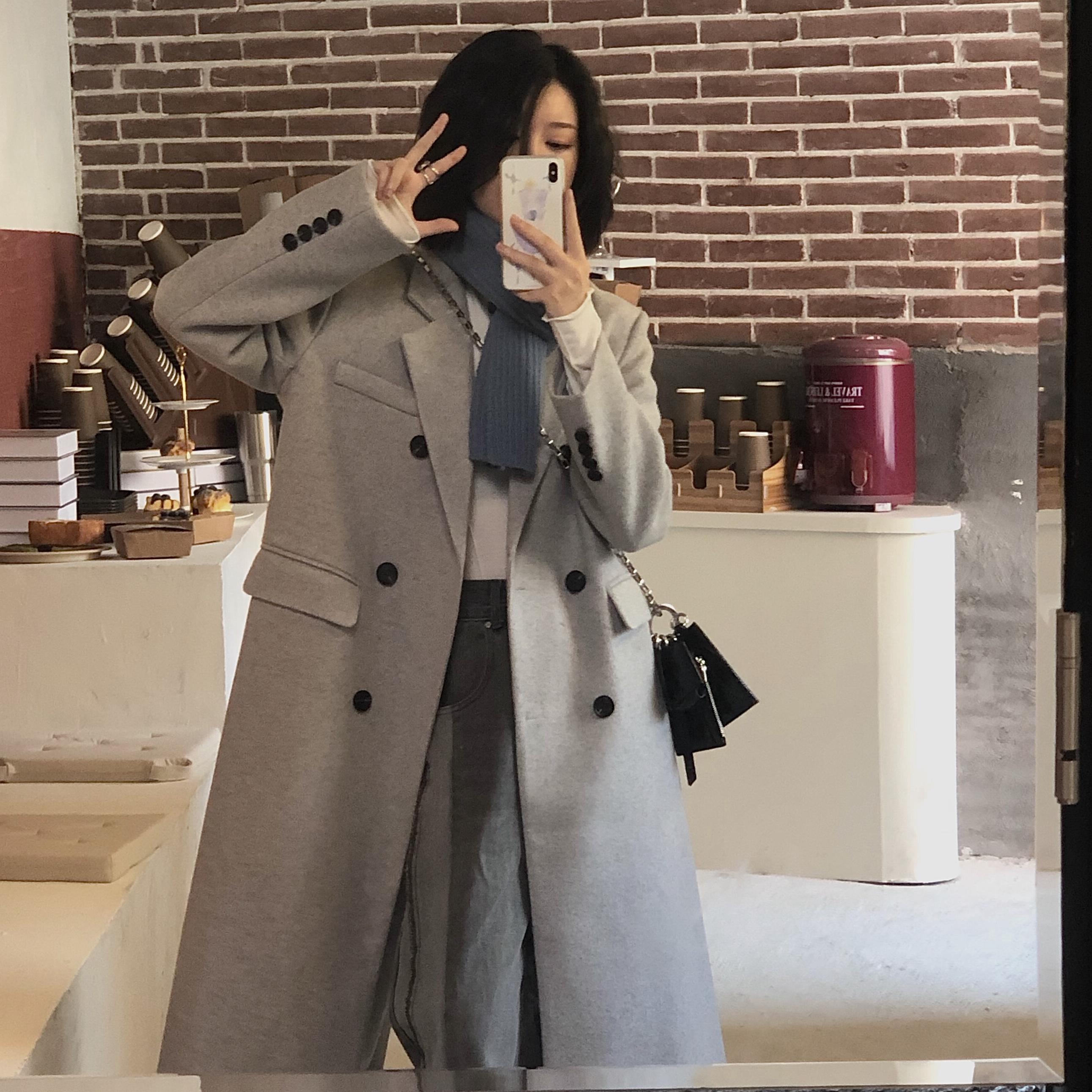 2021聚酯均码单排扣年春装中长款西装大衣冬季新款灰色毛呢外套女