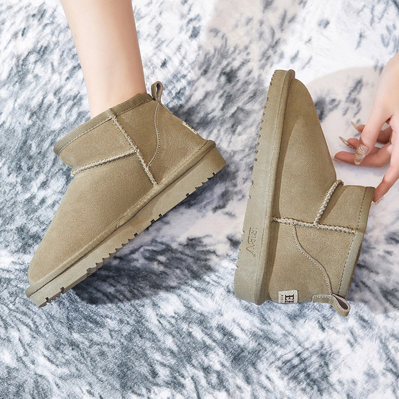 EBV snow boots womens short boots short tube leather slouchers one foot cotton shoes