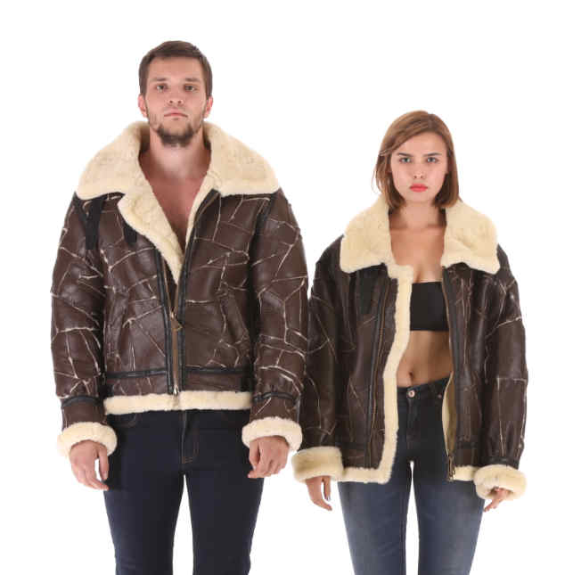 Air force jacket flying leather bomber womens and mens Australian wool meinu fur one sheep shearing wool height 16
