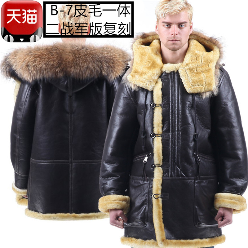 Fur in one mens B3 air force leather jacket hooded raccoon dog fur oversized fur collar coat flying suit B7