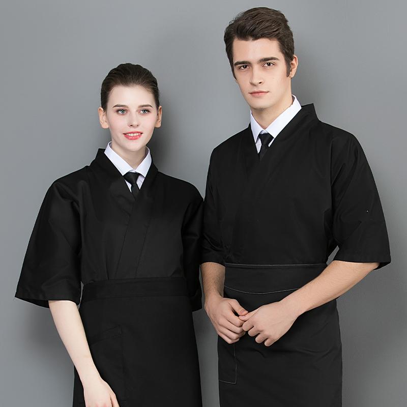 日本料理寿司工作服韩式铁板烧烤师制服订做印字酒店厨师服半袖装