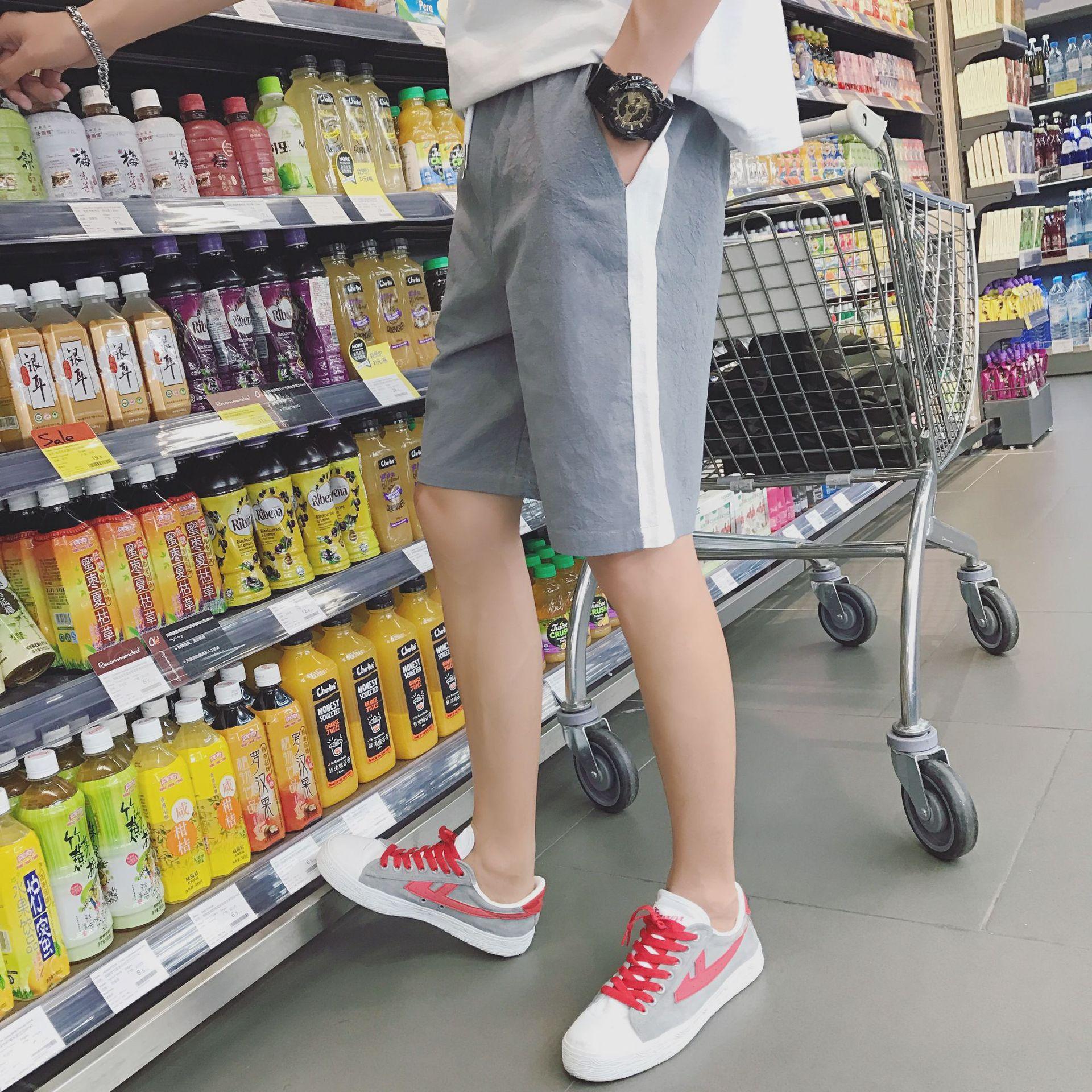 Summer mens gray leisure sports 5-point short pants thin straight tube Youth Popular mid waist basic stripe Tourism