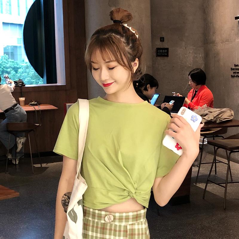 7043#洋气超火cec短袖t恤女韩版修身显瘦时尚圆领绿色上衣服潮