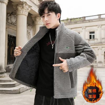 新款加绒颗粒绒夹克男青年立领羊羔绒加厚外套棉衣 K77-P95