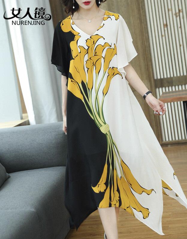 女人镜女装旗舰店官方夏奈瑟大码黑白撞色连衣裙夏季2018新款欧美