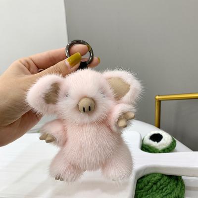 【小香猪】进口水貂毛可爱皮草包包挂件毛绒小猪公仔钥匙扣汽车