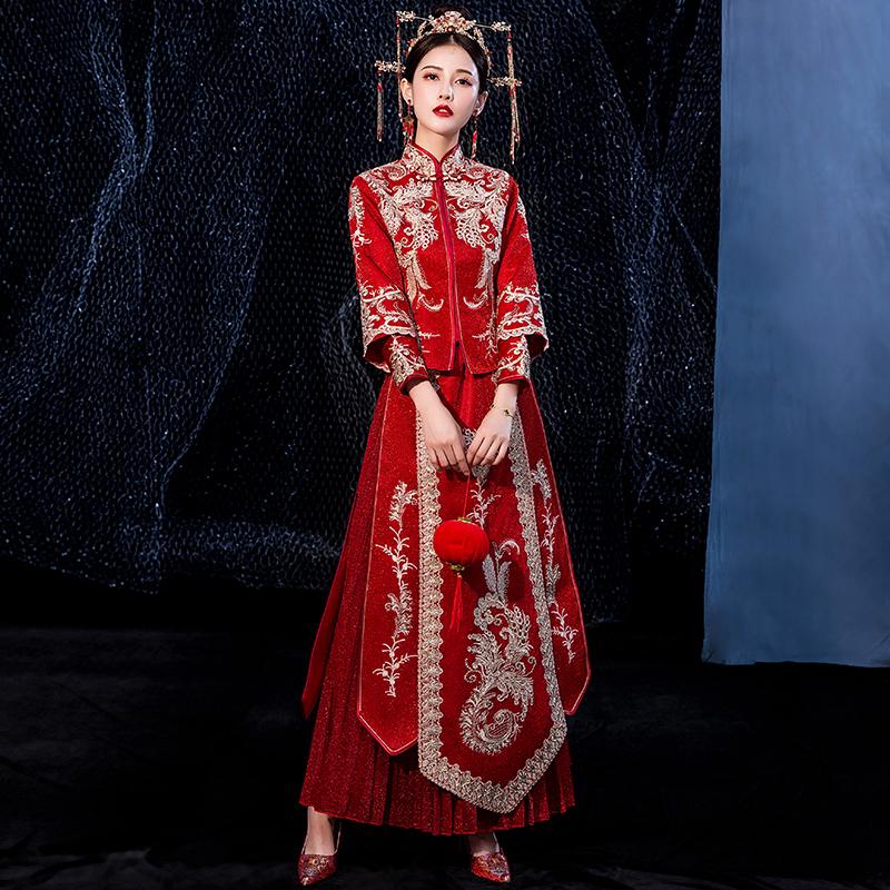 秀禾服新娘2020新款结婚显瘦中式婚纱礼服小个子出阁服孕妇秀禾女