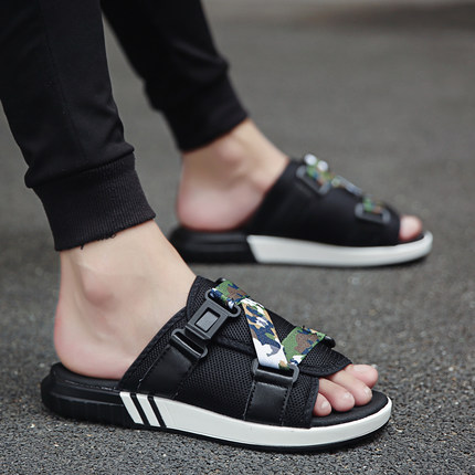 夏季新款潮拖凉鞋防滑软底运动沙滩鞋潮韩版男士休闲居家拖鞋