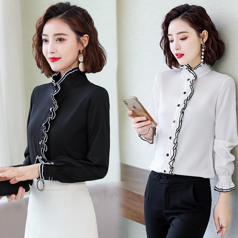 立领雪纺衬衫女长袖2019秋新款冬洋气白色黑衬衣加绒加厚打底上衣