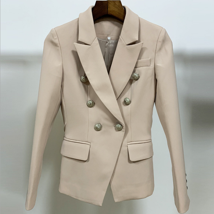 2021 spring and autumn new European and American quality fashion lion metal button double breasted suit slim and versatile short coat female