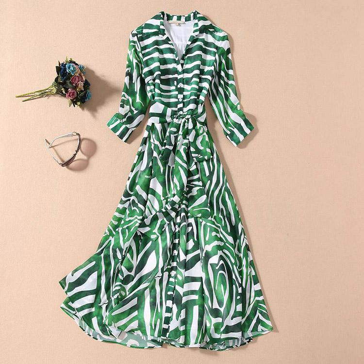 European and American 2021 spring shirt skirt commuting Lapel 7 / 3 sleeve lace up green geometric stripe medium length dress
