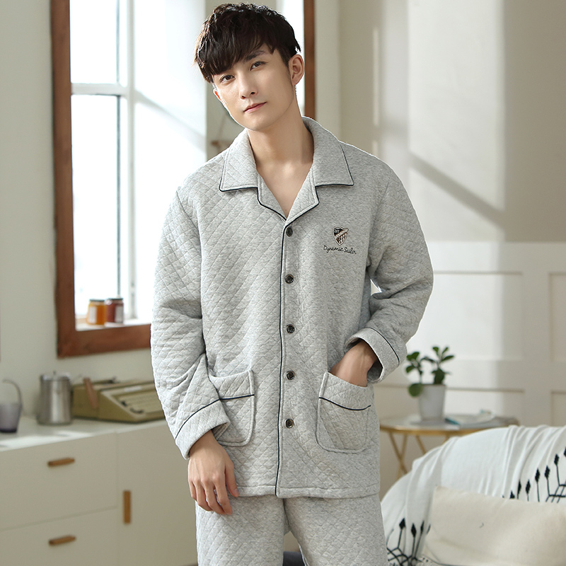 Counter brand casual mens pure cotton thin sandwich pajamas autumn and winter button mens space cotton home suit