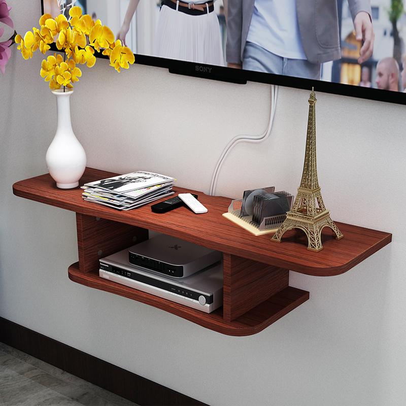 客厅电视机顶盒架壁挂置物架卧室隔板墙上路由器收纳电视柜免打孔