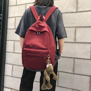 双肩包女2019新款 时尚书包女韩版高中ins风超火的背包百搭小清新图片