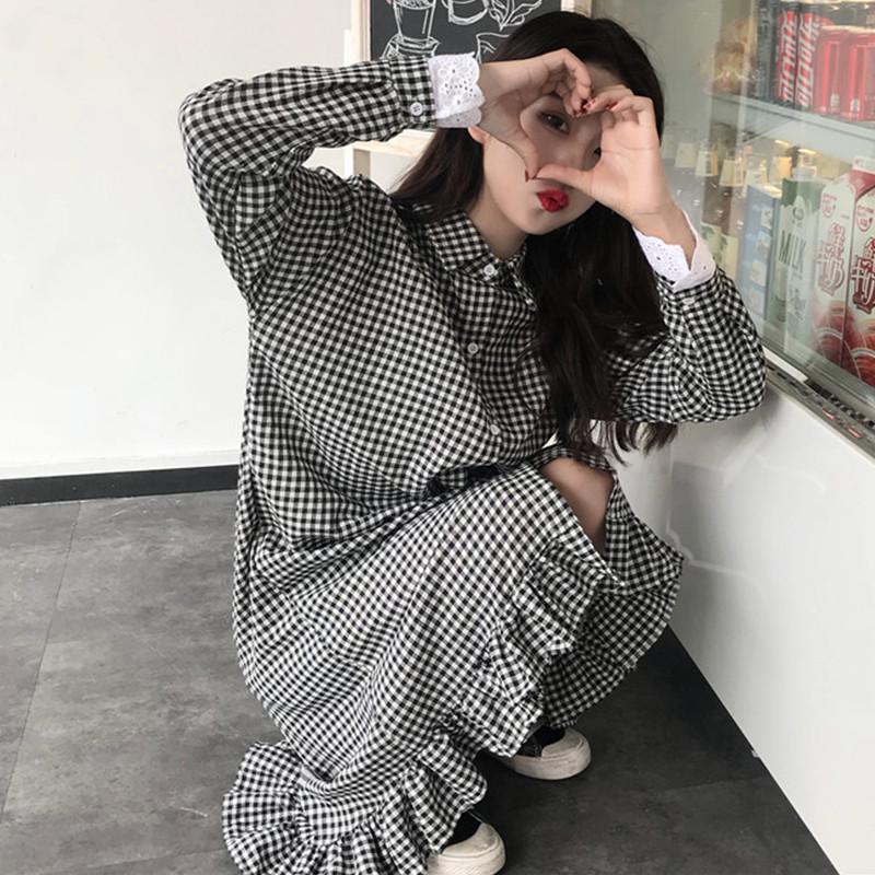 2018新款初秋女装韩版小清新学生宽松衬衫长裙显瘦中长款连衣裙潮