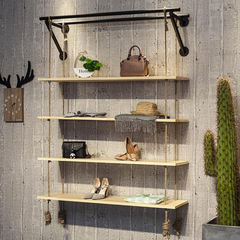 简约服装店鞋店鞋架展示架上墙多层包包置物架鞋货架麻绳架子创意图片