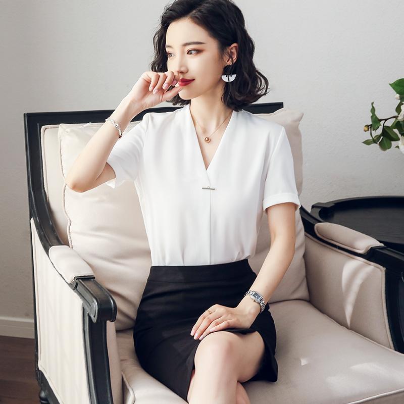 新款职业套装女夏季名媛美容师工作服酒店前台工装气质短袖制服,可领取50元天猫优惠券