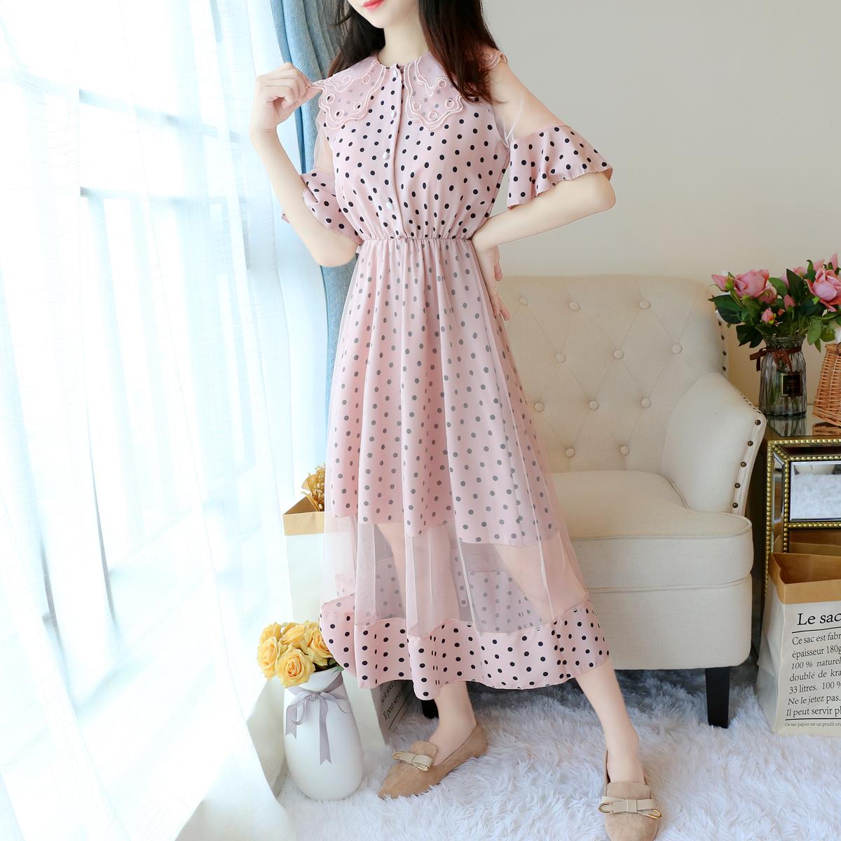 7022#娃娃领单排扣波点雪纺拼接网纱很仙的连衣裙学生网红裙子夏