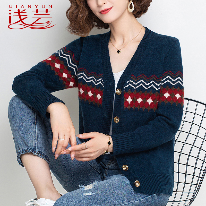 Vintage Port style ins sweater womens thin short jacket 2021 spring and autumn thin shorts slim girls sweater