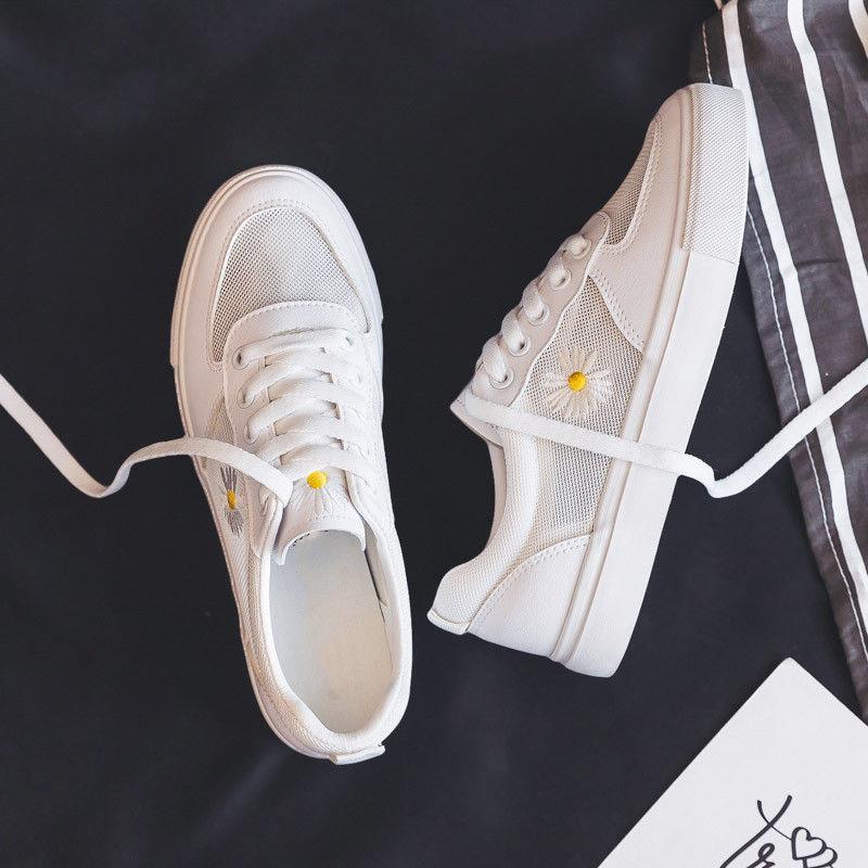 夏季薄款透气网面小白鞋女鞋2020年新款爆款春夏百搭小雏菊网鞋子