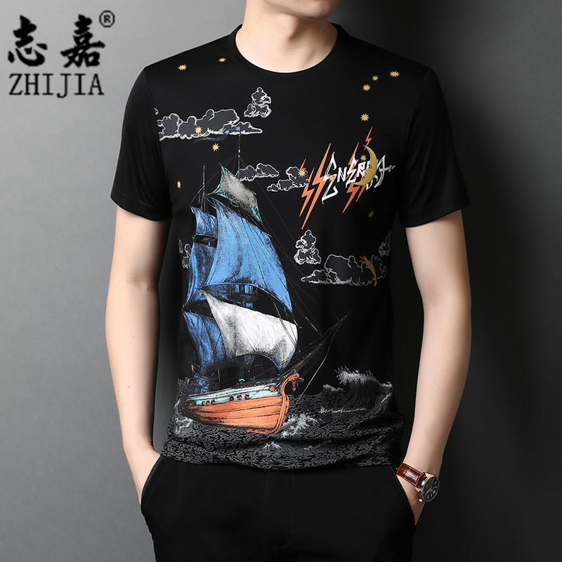 Zhijia summer mens new Pullover round neck fashion printed versatile Top Mens casual fashion half sleeve T-shirt
