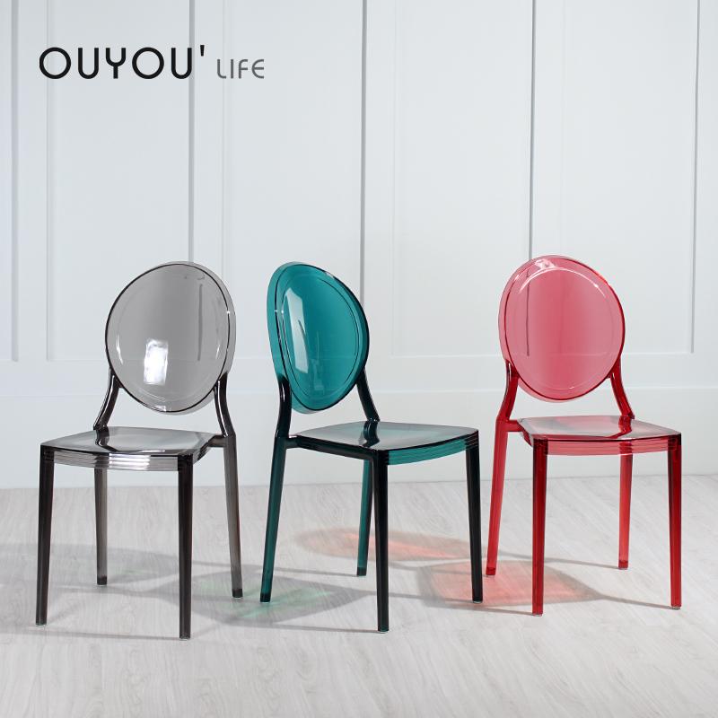 透明餐椅现代简约欧式魔鬼幽灵椅创意时尚北欧亚克力网红水晶椅子