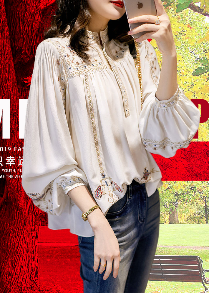 Fashionable and versatile printed shirt womens New Retro Bohemian Lantern Sleeve Blouse in spring and summer 2020