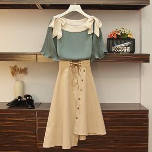 春夏季大碼女裝心機兩件套胖mm泫雅風套裝時髦顯瘦宮廷風連衣裙子