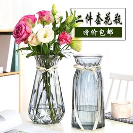 北欧特大号玻璃花瓶创意简约水养富贵竹百合花瓶客厅餐桌插花摆件图片