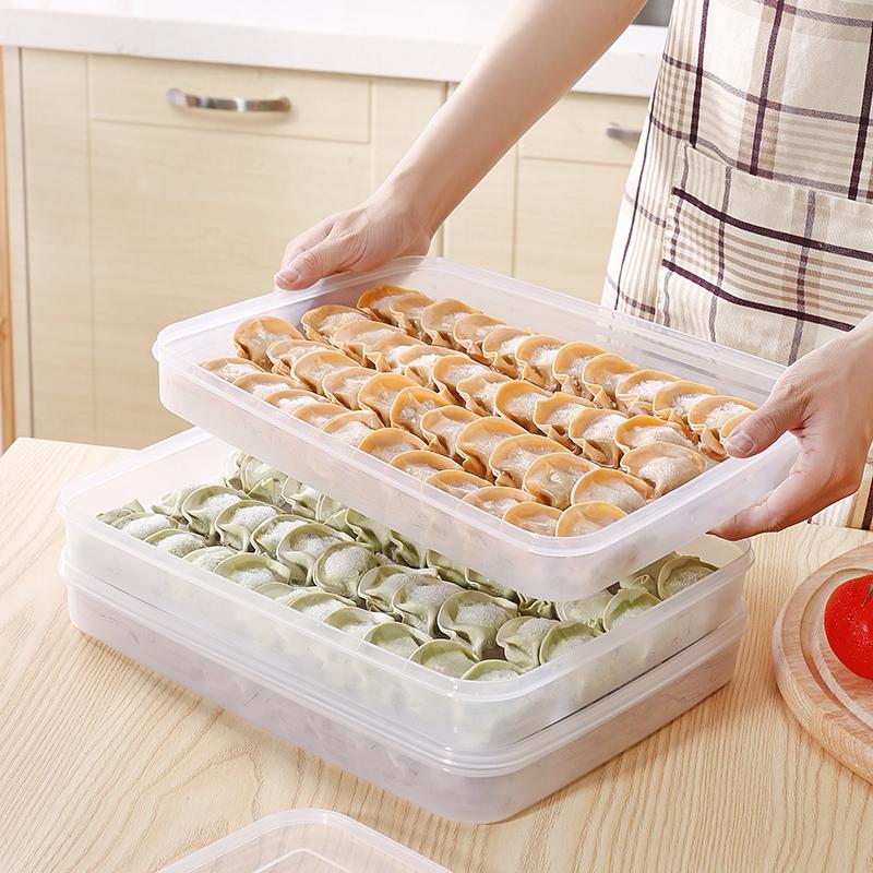 多层速冻饺子盒冰箱保鲜模具不分格包饺子神器塑料家用创意水饺盒