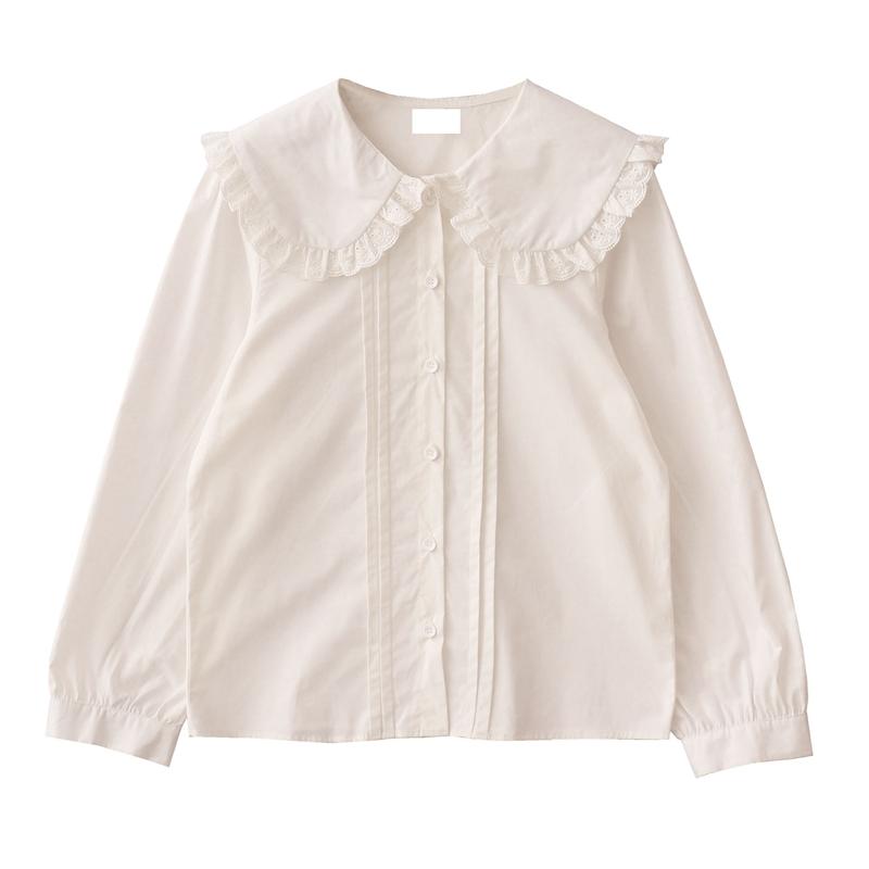 DuForm原创自制2020新款复古蕾丝边大翻领白色衬衫娃娃领打底衬衣