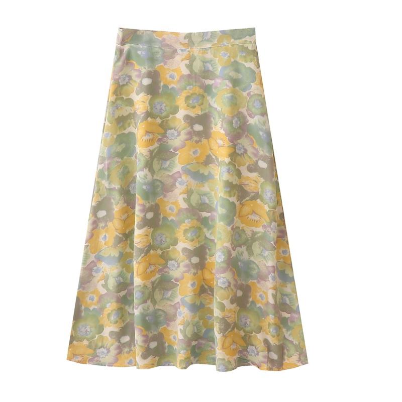 自制夏装新款法式浪漫油画半身裙女复古水墨晕染高腰显瘦中长裙子