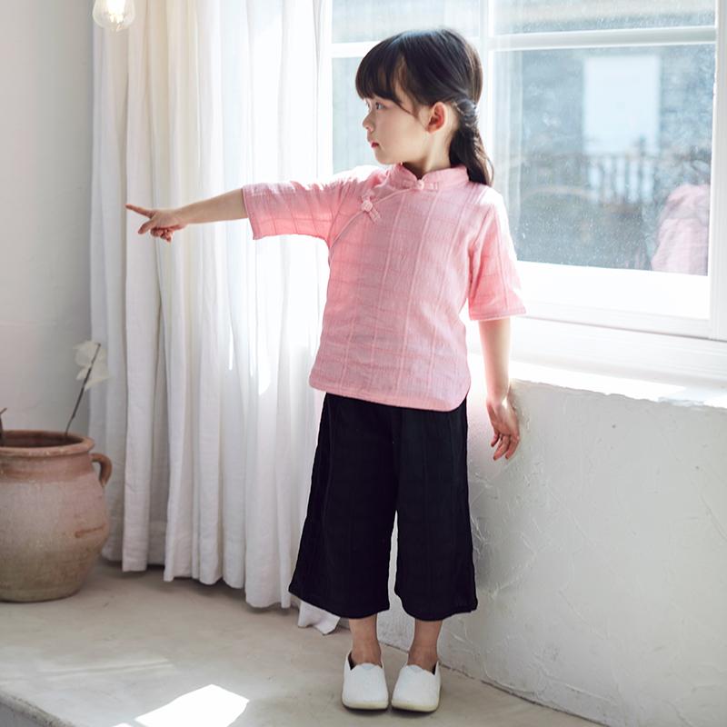 女童汉服春秋棉麻改良宝宝唐装中国风复古儿童民国风套装俩件套热销18件假一赔十