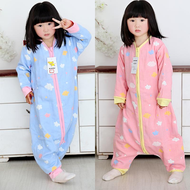 Spring and summer gauze sleeping bag, big childrens split leg anti kick artifact, autumn childrens baby sleeping bag, new style