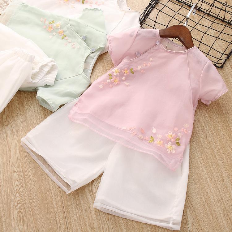 女童汉服夏宝宝汉服女中国风儿童唐装古装夏季复古绣花民族风套装