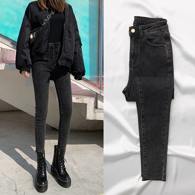 Spring 2020 grey black Plush jeans women's high waist slim Leggings spring fashion