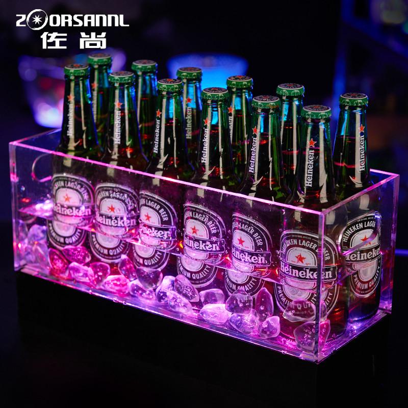 发光冰桶酒框冰粒桶亚克力香槟桶发光ktv冰块桶酒吧啤酒箱led冰桶