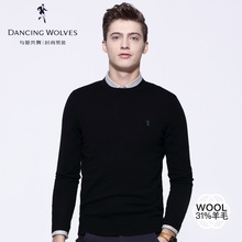 Dancing with the wolf sweater male Korean sweater 2018 autumn and winter new round neck trend men's pullover sweater